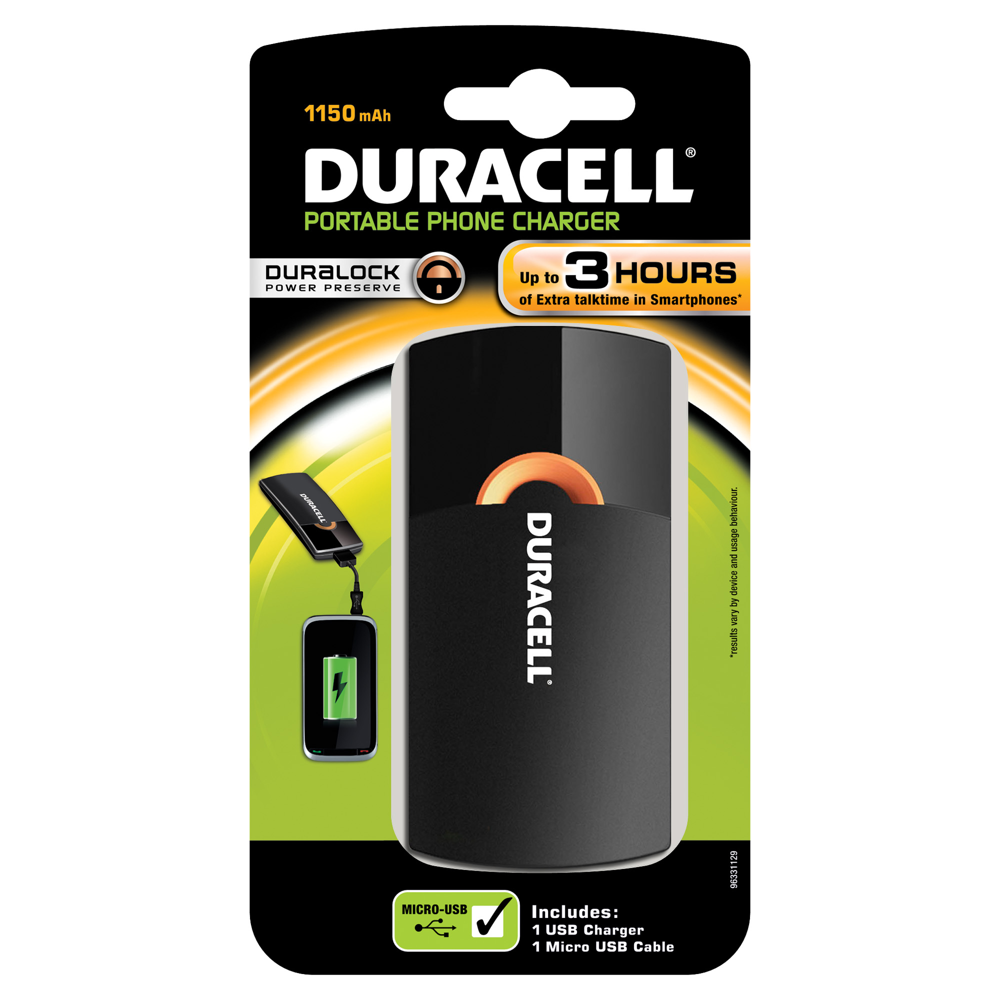 CHARGER DURACELL USB 3 HR